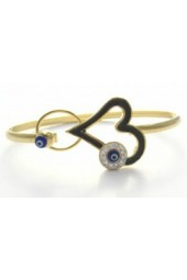 NEW****Gold plated Bangle Bracelet with Swarovski crystals and Murano evil eye