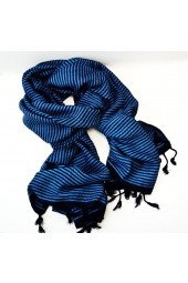 NEW*****Handmade Blue and Burgundy Striped Fringe Scarf
