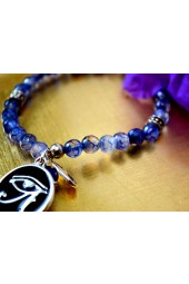 NEW*****Light Blue Agate Bracelet with Silver Eye of Horus Charm