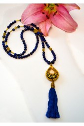 NEW**** Deep Blue Lapis and Citrine Gemstone Tassel Necklace