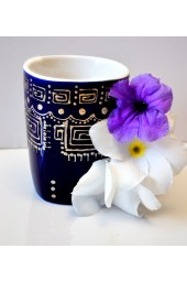 Ceramic Hand Painted Coffee Mugs - Solid Colors with Arabesque Design