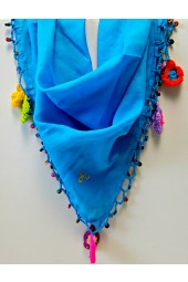 NEW*****Handmade Solid Color Scarves with Flowers and Beads
