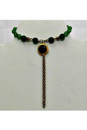 NEW**** JADE GEMSTONES in Gold tone Ring Bracelet