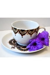 Hand Painted Coffee Cup with Plate - Arabesque Motif