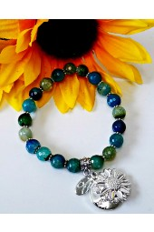 The Melissa Institute Dark Blue Agate Gemstone and Sunflower Charm Bracelet