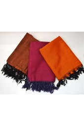 NEW****Egyptian Cotton Double Threaded Scarves with fringes - Burgundy-Orange-Rust