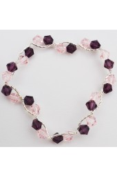 SALE***Pink and Lavender  Crystal Silver Bracelet