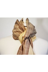 Beige and Brown Scarf with Beige and Brown Thin Stripes
