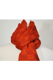 NEW **** Brown/Orange Checkered Fringed Scarf
