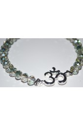 SALE ** 35% off original price of $24 - Silver Green Crystal Bracelet with OM Charm