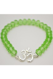 SALE ** 35% Off Original Price Of $24 - Green Crystal Bracelet With OM Charm