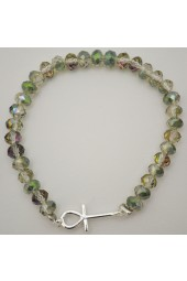 SALE ** 35% Off Original Price Of $24 - Silver Green- Blue Crystal Bracelet With Ankh Charm