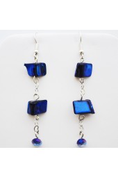 Silver with Royal Blue Mother of Pearl Hanging Earrings