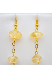 Gold Hanging Cream Gemstone Earrings
