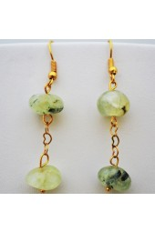 Golden Heart Chain Hanging Earrings with Green gemstone