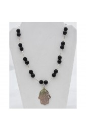 SALE ** 30% off ! - Joy in Black - Silver tone Necklace with Black Agates and Hamsa Charm