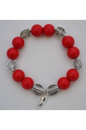 SALE ** 50 % -Red Apple colored Alabaster Gemstone RA bracelet