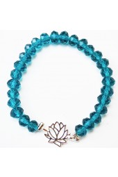 SALE ** 35% Off Original Price Of $24 - Teal Crystal Bracelet With Loturs Flower Charm