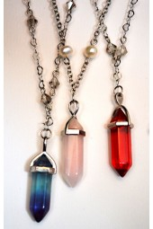 NEW**** Silver Chain with Crystal or Gemstone Pendant Necklace