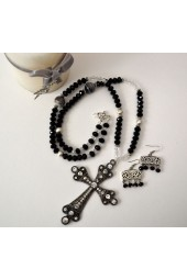 NEW**** Long Silver Black and Clear Crystal and Cross Necklace - The Rosary Necklace