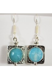 Tiffany Blue color Agate Gemstoe Earrings