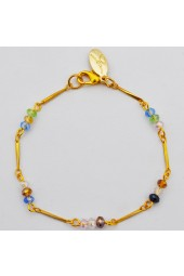 Simple Pleasures Bracelet- Multicolored Crystals in Gold or Blush-Rose Gold tones