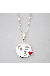 NEW**** Silver Kiss Emoji Necklace