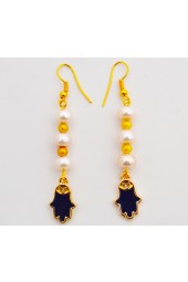 Sale 25% Off !! ****Pearly Hands - Gold Tone Pearl Drop Earrings with Blue Fatima Hand Charm