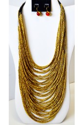 NEW**** Long Beaded Multi String Necklace in Gold, Silver, Black and Deep Blue