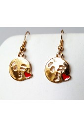 Gold or Silver Kiss Emoji Earrings