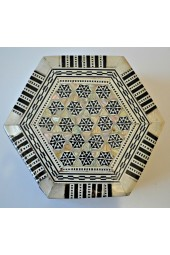 Wooden Hexagon Shaped Egyptian Box with Mother of Pearl Inlay Design