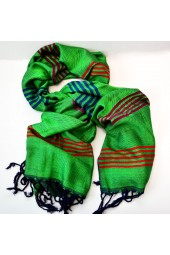NEW*****Handmade Kelly Green with Stripes Scarf