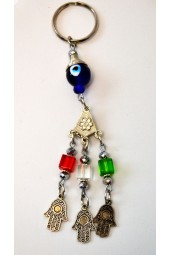 NEW*****Arabesque Style Key Ring with Evil Eye , Square Crystals and Hamsa/ Fatima Hand Charms