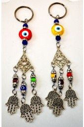 NEW*****Arabesque Style Key Ring with Hamsa/Fatima Hand charms and Crystals