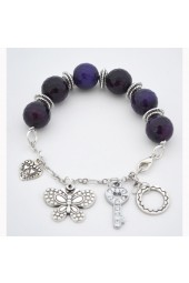SALE ITEM Org Price $28.00 - 57% Off - Large Dark Purple Agate Stones with hanging Silver colored charms Bracelet
