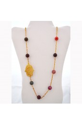 CLEARANCE SALE **** 60% of original price of $52.00. The Hand that Protects multicolored agate gemstone necklace