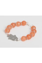 SALE ITEM Org Price $28.00 - 50% off - Large Peach Agate Stones with Silver colored Fatima Hand charm Bracelet (Necklace sold separately)
