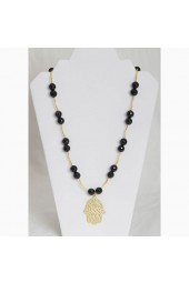 SALE ** 30%- Black Dahlia Necklace - Black agate gemstone Necklace with Hamsa Charm
