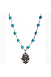 Large Turquoise Stone with Silver colored Fatima Hand Charm Necklace (bracelet sold separately)
