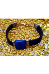 NEW*****Leather Bracelet with Lapis Lazuli Gemstone and Brass Wiring