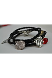 NEW****Roped Leather Wraparound Bracelets with Crystals and Silver charms