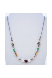 SALE **  75 % - Attracting Love Necklace with Agate, Garnet, Jade and Quartz Gemstones