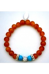 SALE **** 50% of original price of $24.00. Tan Agate and Turquoise Bracelet