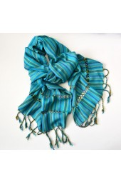 NEW*****Handmade Medium Striped Fringed Scarf with Design