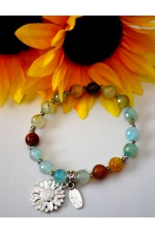 The Melissa Institute Turquoise Agate Gemstone and Sunflower Charm Bracelet