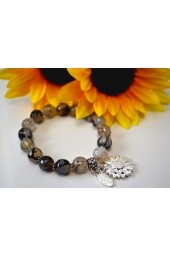 The Melissa Institute Grey Agate Gemstone and Sunflower Charm Bracelet