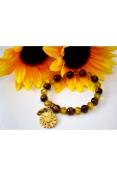 The Melissa Institute Tiger's Eye and Crystal SunFlower Charm Bracelet