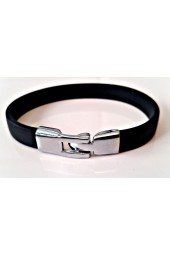 NEW****Black Men's Bracelet with Stainless Steel Clasp