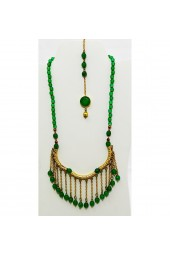 SALE** 20% off original price - Jade Gemstones in gold tone Back Necklace