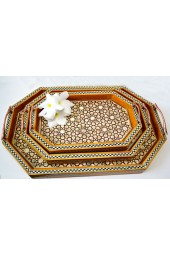 Egyptian handcrafted Hexagon shaped Black Wooden Stacking Serving Trays with Mother of Pearl
